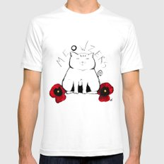 Meowzers White Mens Fitted Tee SMALL