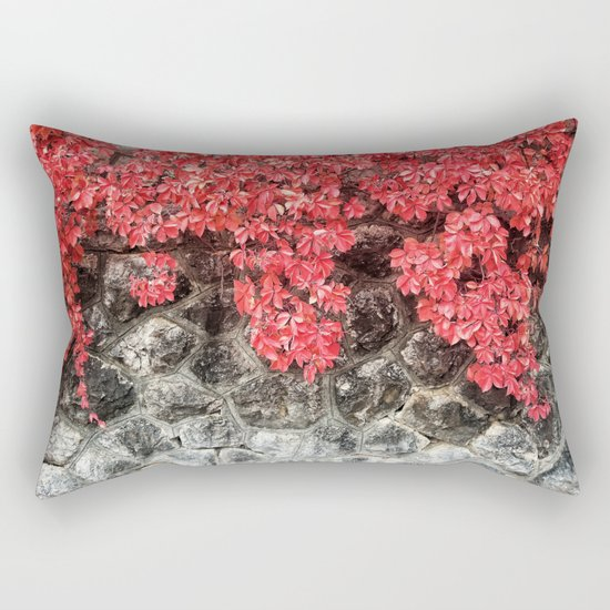 Red ivy leaves autumn stone wall Rectangular Pillow