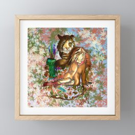 Female wood elf druid with a tiger for dnd fans Framed Mini Art Print