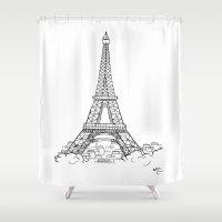 eiffel tower Shower Curtains featuring EIFFEL TOWER by DMorrow Art