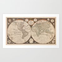 map of the world Art Prints featuring World Map by Le petit Archiviste