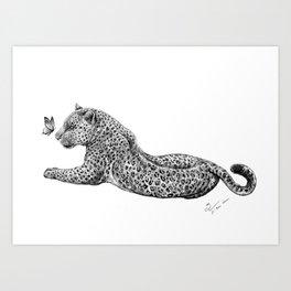 Leopard & Butterfly  Art Print