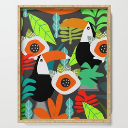 Tropical vibe with toucans Serving Tray