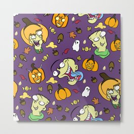 Pumpkin head pattern Metal Print