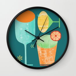 Pour & Drink (Blue) Kitchen or Bar Art Wall Clock