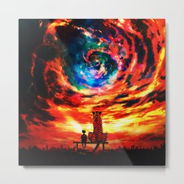 Calvin And Hobbes With Nebula Metal Print