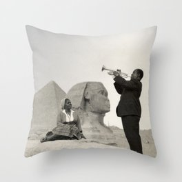 Louis Armstrong at the Spinx and Egyptian Pyrimids Vintage black and white photography / photographs Throw Pillow