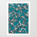 woodland fox party teal blue by sharonturner