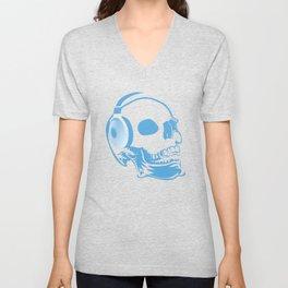 Skull with headphones Unisex V-Neck