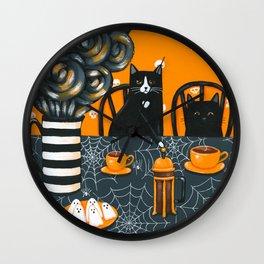 Halloween French Press Coffee Cats Wall Clock
