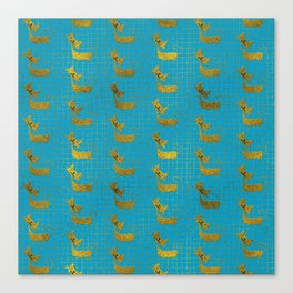 Cute whimsical Gold Cat Pattern On teal Canvas Print