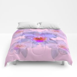 TROPICAL LILAC CATTLEYA ORCHID FLOWERS PINK ART Comforters