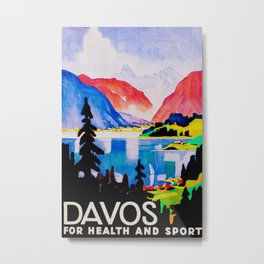 Davos Switzerland - Vintage Travel Metal Print