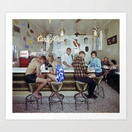 1960's Coffee Shop in the Safari Motel, Ocean City MD, Retro Motel Art Print