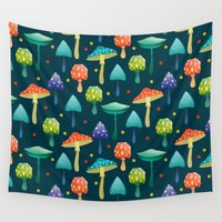 mushrooms Wall Tapestries featuring Mushrooms by Julia Badeeva