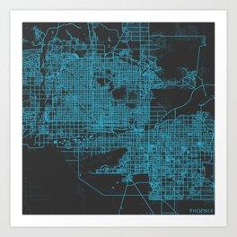 Phoenix map blue Art Print
