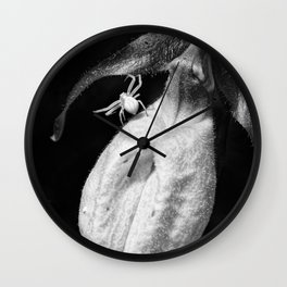 Spider And Ladyslipper Wall Clock