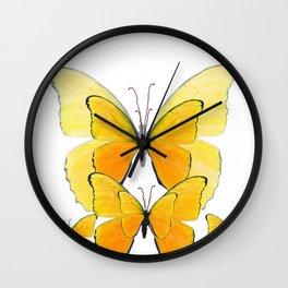 MODERN ART YELLOW BUTTERFLIES ABSTRACT Wall Clock