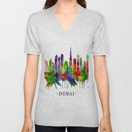 Dubai United Arab Emirates Skyline Unisex V-Neck