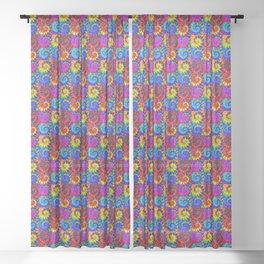Spiral Tie Dye Checkerboard Sheer Curtain