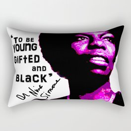 Nina Simone - To be Young Gifted and Black Rectangular Pillow