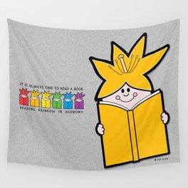 Reading Rainbow in Harmony - Orange Wall Tapestry