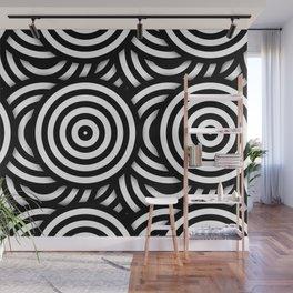 Retro Black White Circles Op Art Wall Mural
