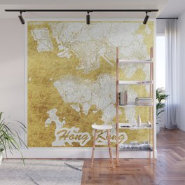 Hong Kong Map Gold Wall Mural