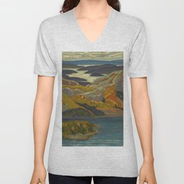 Canadian Landscape Oil Painting Franklin Carmichael Art Nouveau Post-Impressionism Grace Lake 1931 Unisex V-Neck