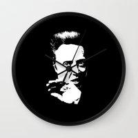 christopher walken Wall Clocks featuring Christopher Walken by Spyck