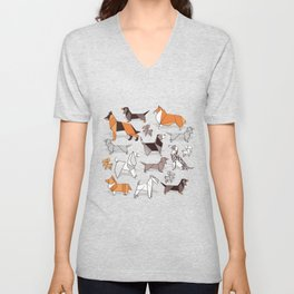 Origami doggie friends // grey linen texture background Unisex V-Neck