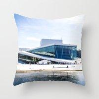 oslo Throw Pillows featuring Oslo - Opera by Linéa Lønhøiden