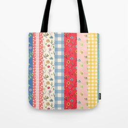 Happy patchwork stripe Tote Bag