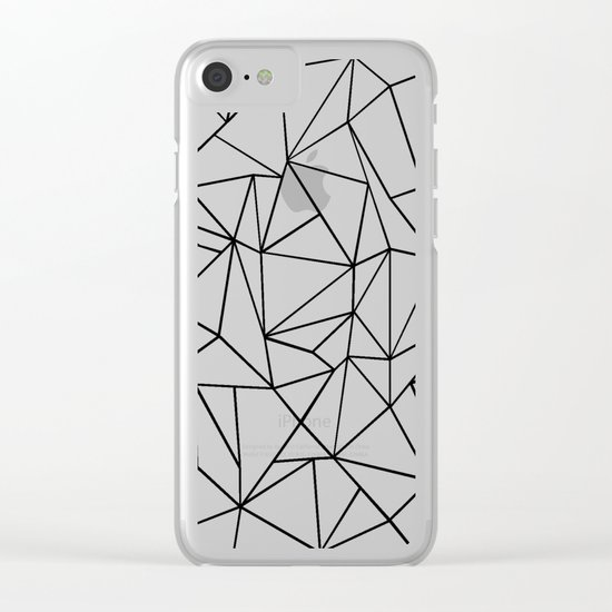 Abstract Outline Black on White Clear iPhone Case