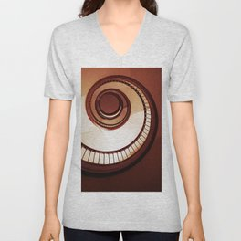 Brown spiral staircase Unisex V-Neck