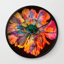 Psychedelic Floral Dew Wall Clock