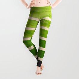 Sap Green Geometric Watercolor Painting Leggings