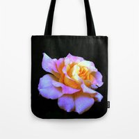 rose gold Tote Bags featuring Pink And Gold Rose by minx267