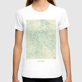 Rome Map Blue Vintage T-shirt