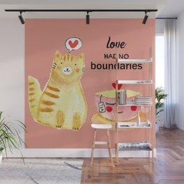 Watercolor Love doodles Wall Mural