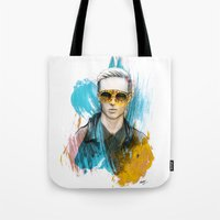 tom selleck Tote Bags featuring Tom by Krister Selin