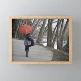 red umbrella Framed Mini Art Print