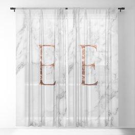 Monogram rose gold marble E Sheer Curtain