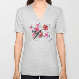 Flying Hummingbird and Pink Flowers, Tropical Foliage floral bird art Unisex V-Neck