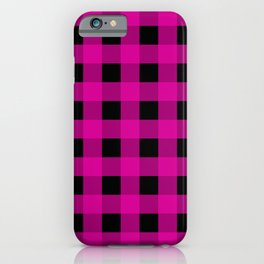Buffalo Check - magenta and black iPhone Case