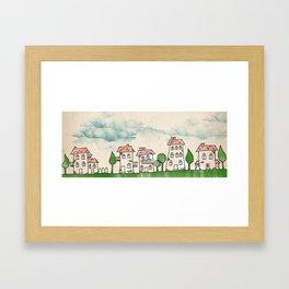 Cartoon city Framed Art Print