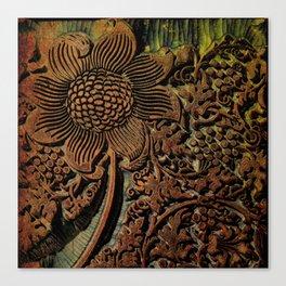 Antique Arts & Crafts era Wood Carving, wood block  Canvas Print