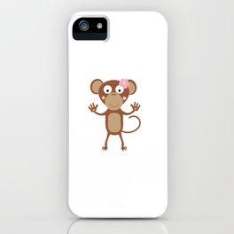 female monkey with flower iPhone Case