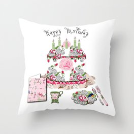 Happy Birthday Party Throw Pillow