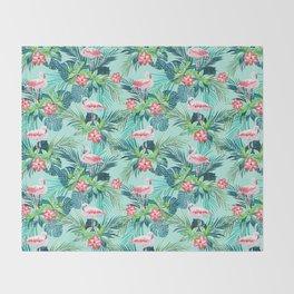 Flamingo green Throw Blanket